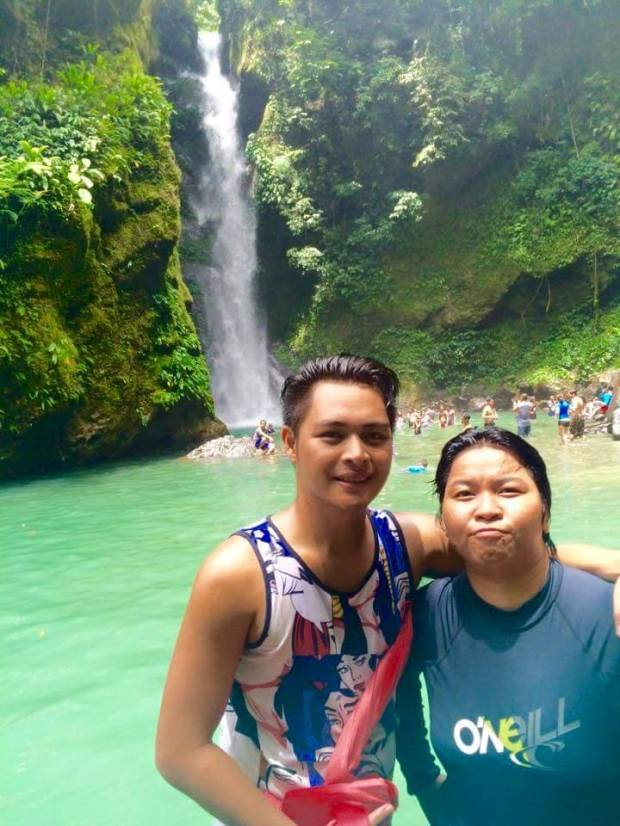 The refreshing water from the Falls with Xy and Bandam (Bonding with great friends)