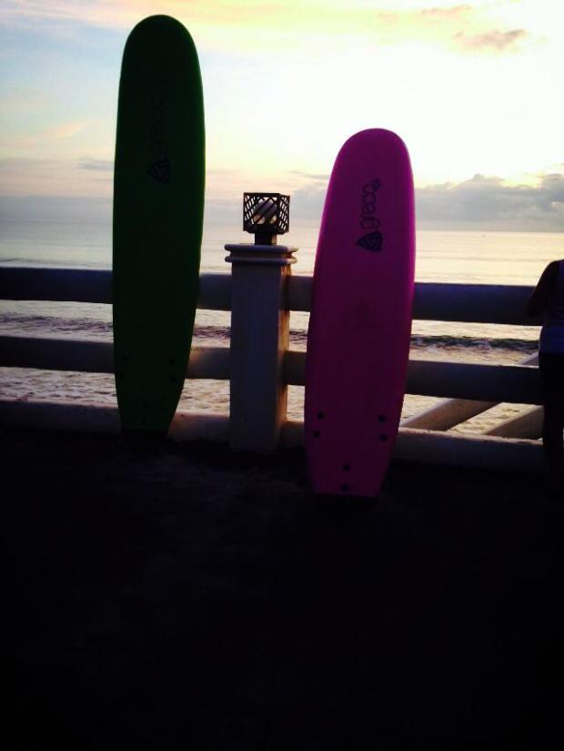 The Surfing Board against the tides and lights